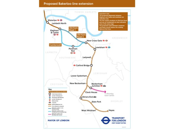 How TfL sees the Bakerloo extension. The plans have no funding earmarked