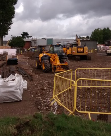 The scene yesterday outside Oasis Academy Arena: a building site, not a school playing field