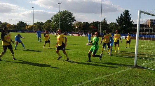 A rare attack on the Brentwood goal by Croydon FC in their FA Cup defeat last week
