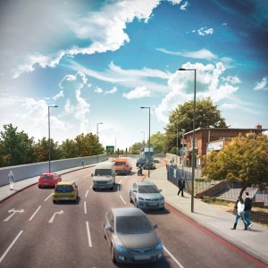 """A TfL generated image of how the widened Epsom Road might look if """"Plan B"""" is adopted"""