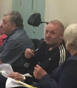 Peter Morgan in usual attire in usual mode - forcing his views on others at a public meeting