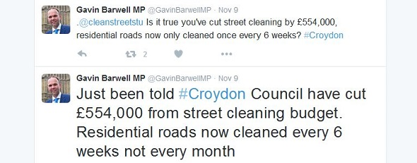 Barwell's street-cleaning tweets dripped with rank hypocrisy: he has never voted against any of his Government's cuts