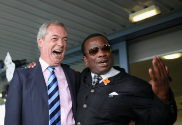 Happy days: Nigel Farage, left, and Winston McKenzie share a laugh. Such japes