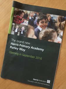 Eight pages of Harris brochure, and not a word about air pollution levels near the school