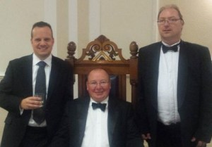 "Selsdon Park Lodge's newly installed ""Master"", Tony Pearson, and his two ""wardens"". Looks like fun"