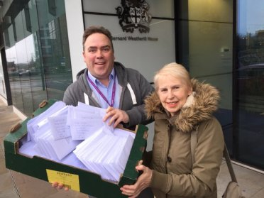 Torry councillors Jason Perry and Maria Gatland hand in another wodge of objetions letters