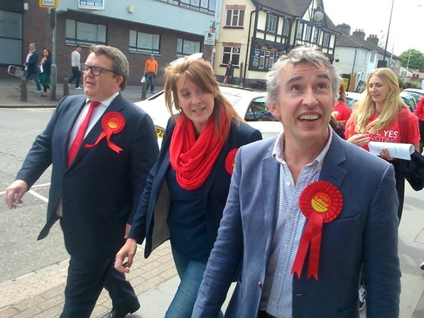 Steve Coogan, right, and Labour Party campaign organiser Tom Watson MP, campaigned with Sarah Jones in Croydon in the final week of the campaign. Throughout his book, Barwell complains that Labour had a better-resourced campaign than he did