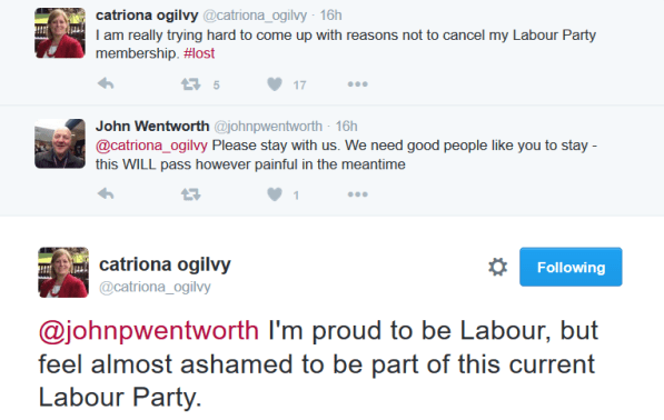 Ogilvy and Wentworth tweets Corbyn Reed