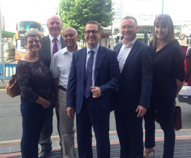 Owen Smith on his secret visit to Croydon this morning. From left: Ann O'Connor, John Wentworth, Shafi Khan, Smith, Reed and Sarah Jones