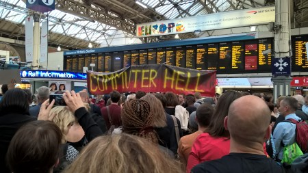 Commuters, including many from Croydon, protesting at Victoria Station last night