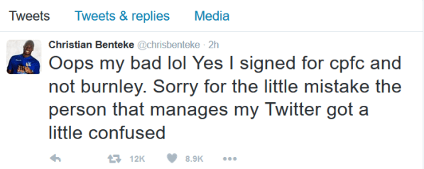 Benteke apology