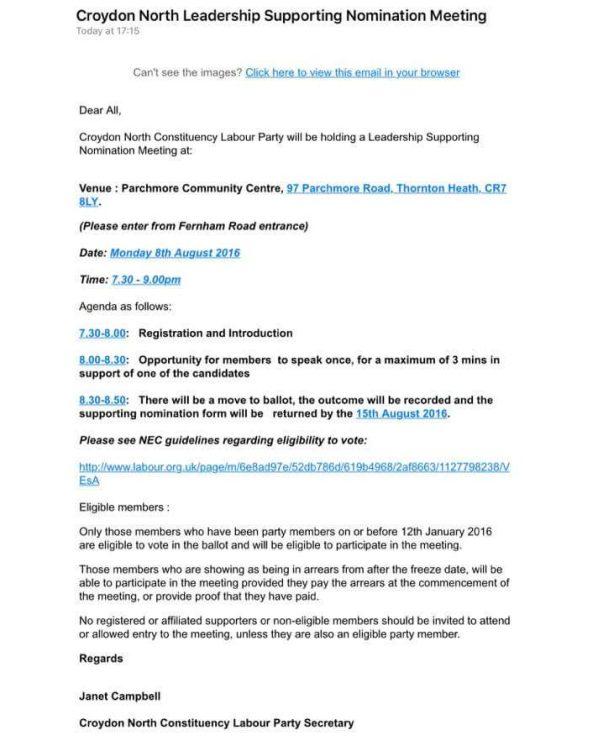 Croydon North nomination meeting