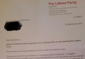 The suspension letter sent to Genevieve Murray-Dinsmore yesterday