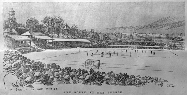 Crystal Palace staging the 1896 FA Cup final, when Fred Spiksley scored a goal within 20sec