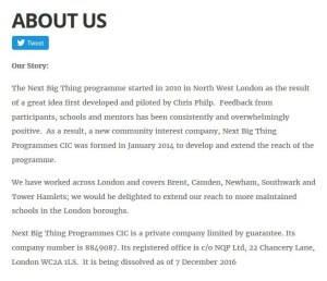 The Next Big Thing's website is a little coy about the company's closure...