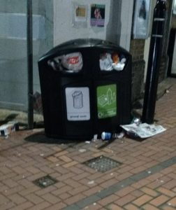 A bin outside Norwood Junction Station this morning, which had not been emptied since last week