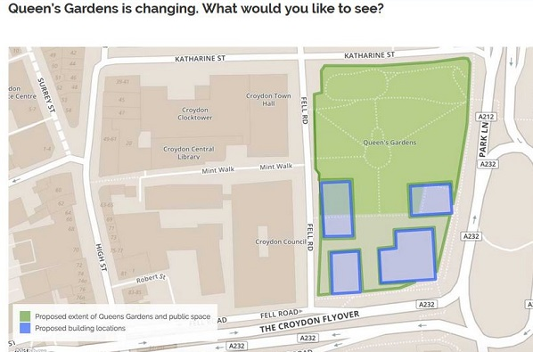 Sketch maps accompanying Hub's publicity appear to show the buildings extending into public open space in Queen's Gardens