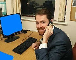 Cameron Penny in an early publicity picture for the local elections. Just what has he blanked out on his computer screen?