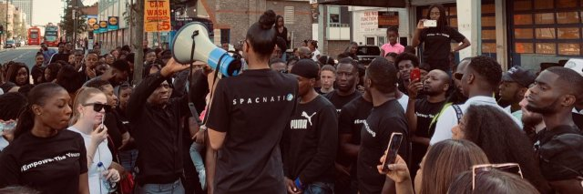 Jayde Edwards addressing SPAC Nation rally in Croydon empower the young