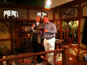 "Author and Thomas More College Professor Joseph Pearce and Theater of the Word's Kevin O'Brien on the set of EWTN's upcoming series, ""The Hobbit."""
