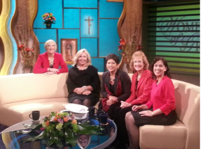 "On the set of EWTN's ""Women of Grace"" with (l to r) Host Johnnette Benkovic, Joy Pinto of ""At Home with Jim & Joy,"" Teresa Tomeo of ""Catholic Connection"" and ""The Catholic View for Women,"" EWTN Director of Communications Michelle Laque Johnson, and EWTN Radio Producer Elena Rodriguez."