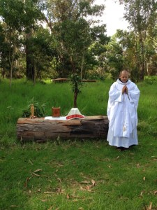 Father Nathan celebrating Mass Day 1 at Volcano National Park