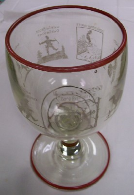 1933 End Of Prohibition Celebration Giant Goblet W Cartoons   PC     1933 End Of Prohibition Celebration Giant Goblet W Cartoons   PC