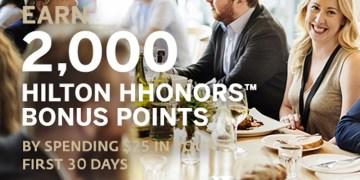 2,000 bonus points Hilton HHonors Dining