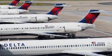 Delta Air Lines airplanes at gates Concourse B Atlanta airport