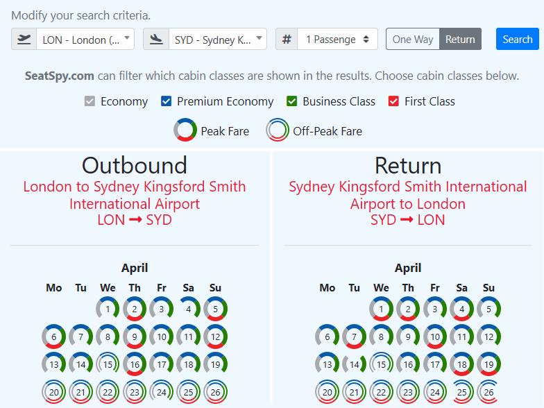 SeatSpy reward flight search results