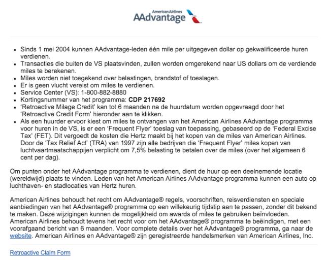 American Airlines Miles Verdienen - Hertz Nederland