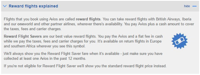 BA Executive Club - Reward Flight Saver