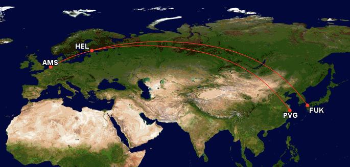 Finnair, Japan Airlines, China, Japan, Fukuoka, Shanghai, Helsinki, Amsterdam