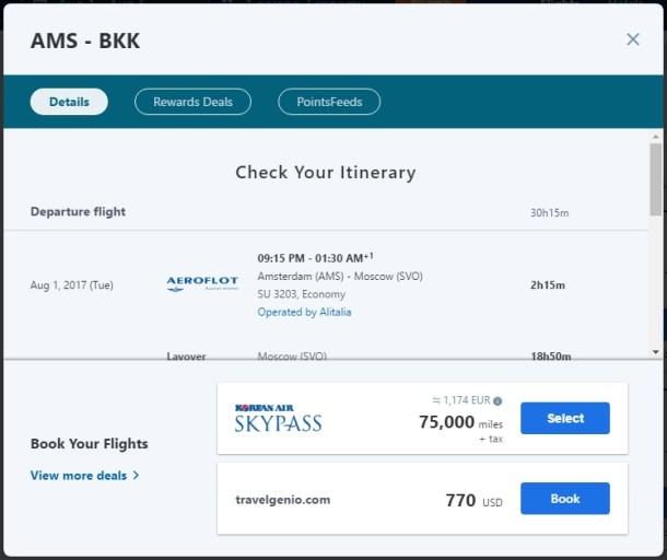 Pointimize - flights ams-bkk