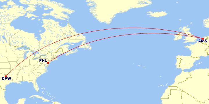 American Airlines, Oneworld, Boeing 777-200, Schiphol, Dallas/Fort Worth, Philadelphia