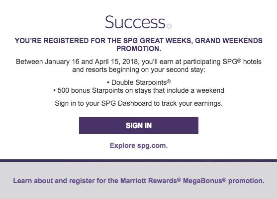 SPG Great Weeks Grand Weekends promotie