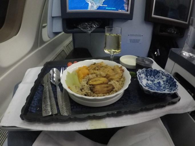 hoofdgerecht, business class, boeing 747, klm