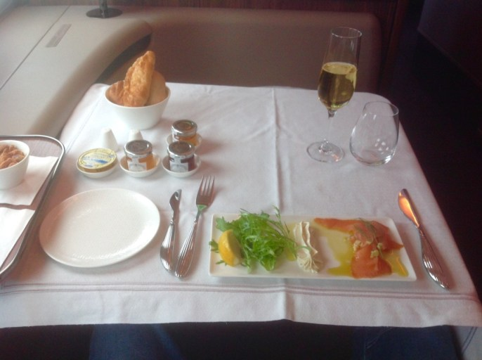 qatar airways, a380, ontbijt, first class