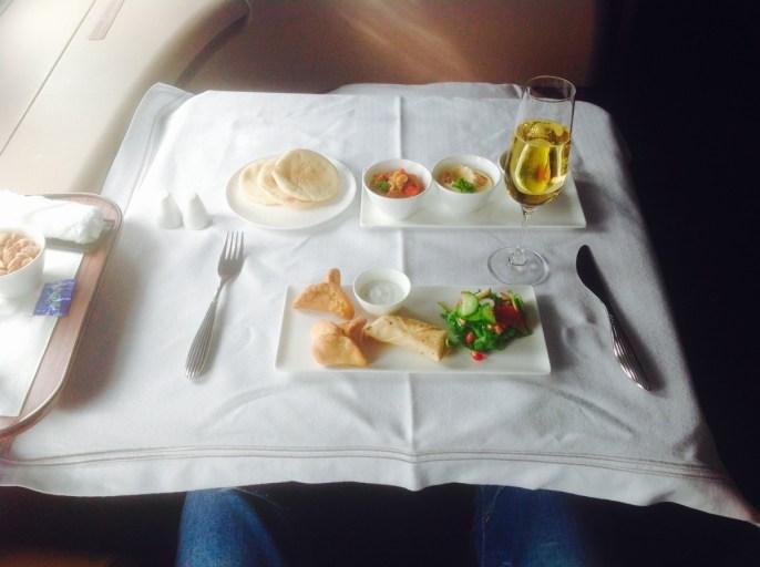 qatar airways, first class, lunch, a380
