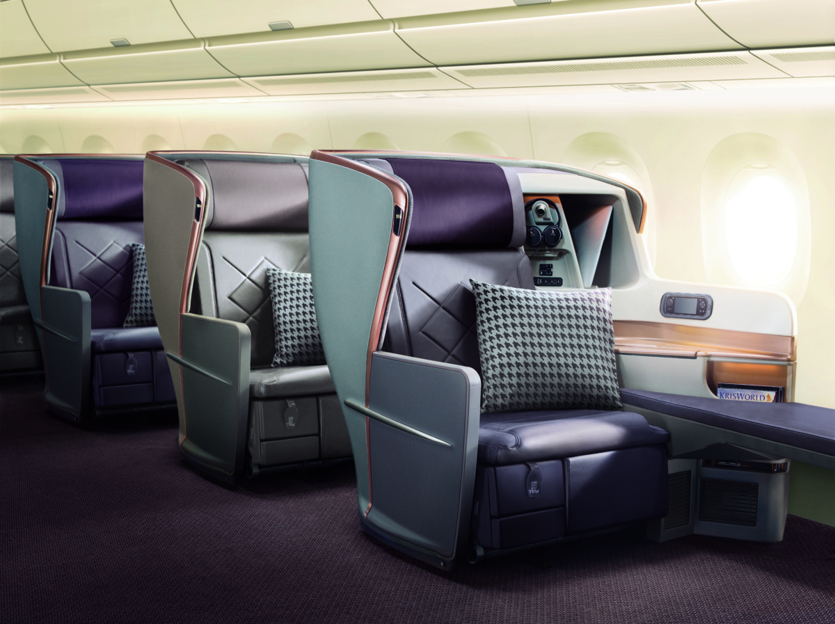 Business Class in de A350-900ULR (Bron: Singapore Airlines)