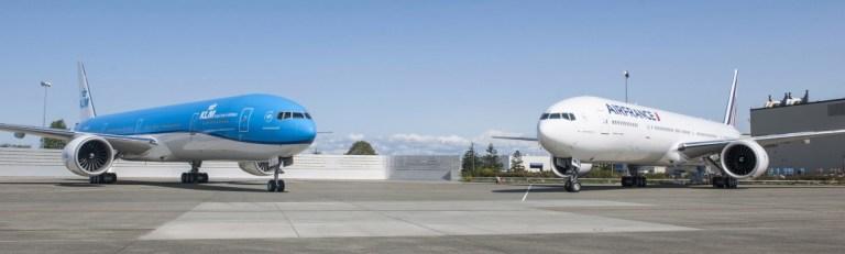 Boeing 777-300 van KLM (links) en Air France (rechts) (Bron: KLM)