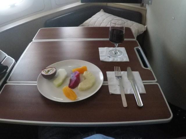 vers fruit, Qantas, a380, first class