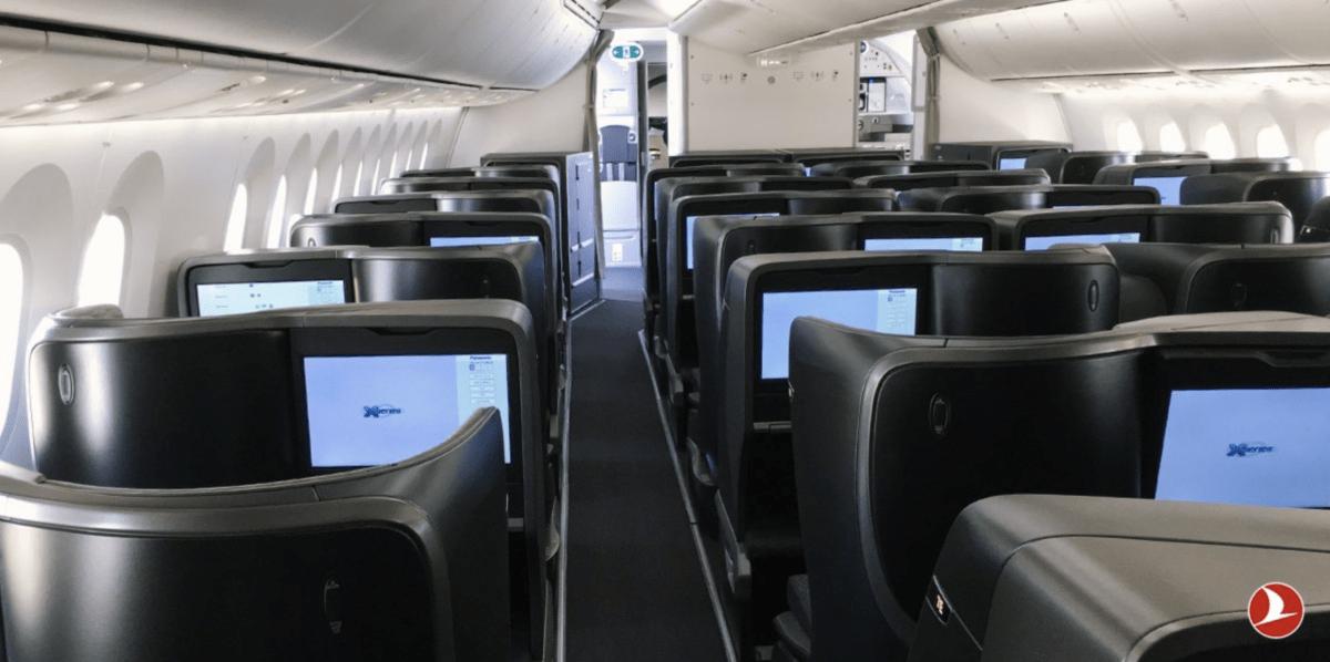 Business Class cabine in de nieuwe Boeing 787 Dreamliner van Turkish Airlines (Bron: Twitter / Turkish Airlines)