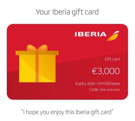 Iberia biedt tijdelijk 25% korting op gift cards (Bron: Iberia)