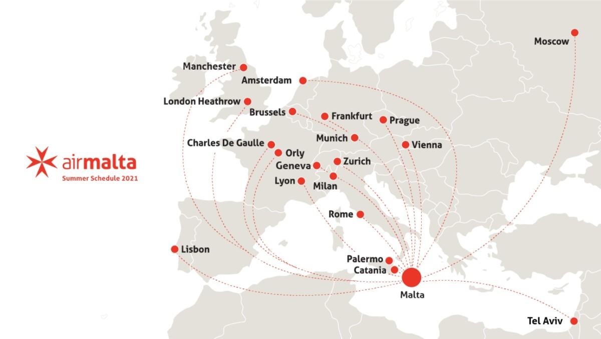 De zomerbestemmingen van Air Malta (Bron: Air Malta)