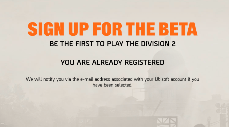 Division 2 Beta Sign-Up