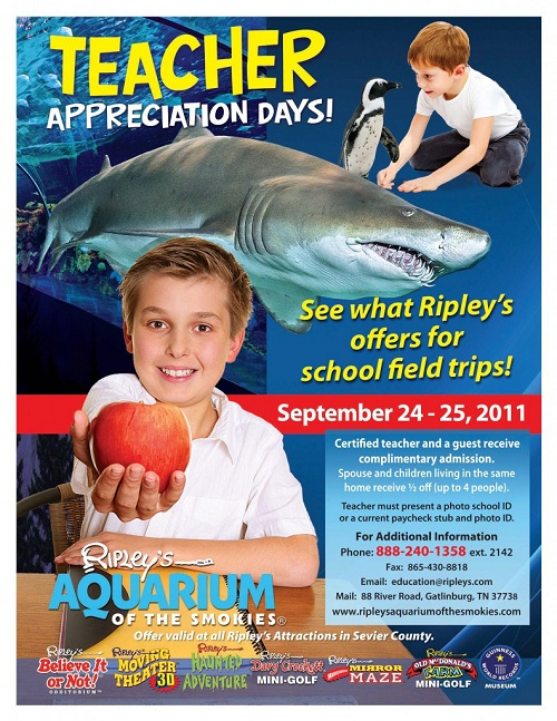 tennessee aquarium printable coupons ripley s aquarium appreciation days sept 24 25 25068