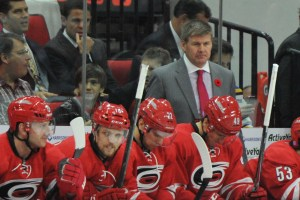 10 Nov 2014 Carolina Hurricanes Head Coach Bill Peters during the first period of the game between the Calgary Flames and the Carolina Hurricanes at the PNC Arena in Raleigh, NC. Carolina defeated Calgary 4-1.