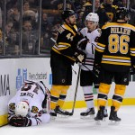 Boston Bruins defenseman Dennis Seidenberg (44) was called for boarding after his hit on Chicago Blackhawks center Jonathan Toews (19).