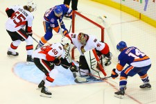 Ryan Strome scores on Craig Anderson. (Brandon Titus/Inside Hockey)